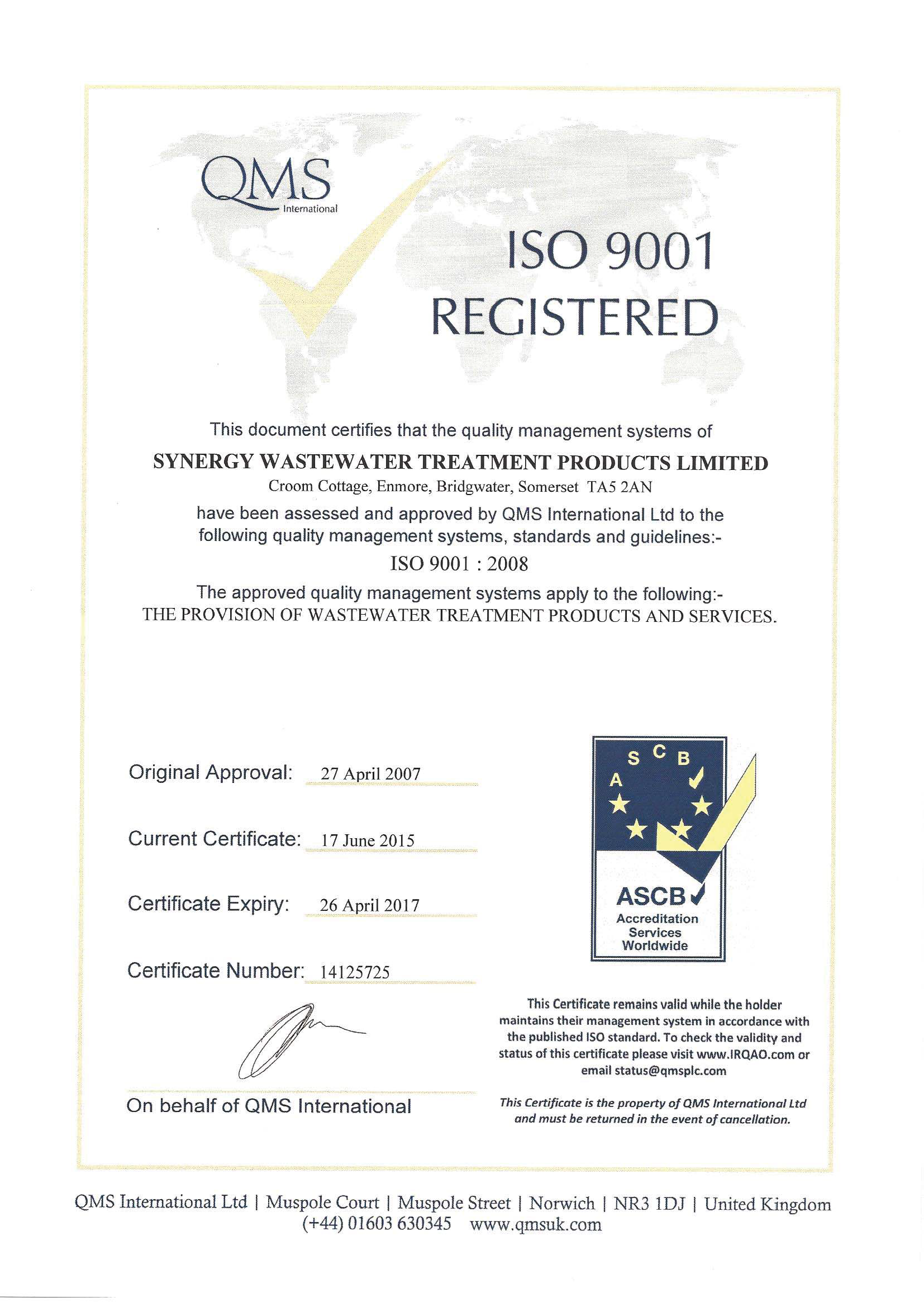 Wastewater Accreditations And Certificates For Synergy