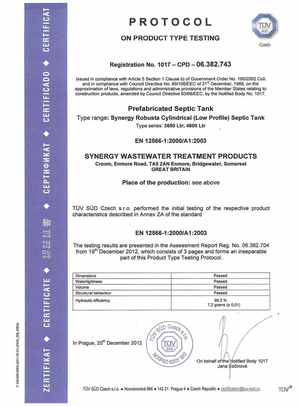 Wastewater accreditations and certificates for synergy en 12566 3 test certificate 1betcityfo Gallery
